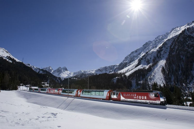 A winter's view of the Glacier Express